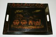 Vintage Tray Tole Painted Albany To Schenectady Steam Engine Train