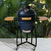 Outdoor Kamado Ceramic Grill Round Charcoal Burning 15 In Diam 13 In Grate Blue