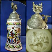 German Regimental Military Beer Stein 1902-04 Lithopane Authentic Hand-painted