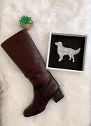 2013 13b Quilted Brown Leather Knee High Tall Boots Shoes Heels 1290