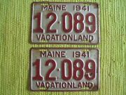 1941 Maine License Plate Me Tag Matched Pair 41 Plates Vacationland 12-089