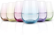 Colored Stemless Wine Glass Set Of 6, Vibrant Splash Wine Glasses With Colored