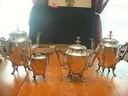 Wonderful Aesthetic Antique Victorian 4 Pc Silver Plated Tea/coffee Service