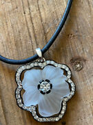 Kjl Kenneth Jay Lane Jewelry Lucite And Rhinestone Flower Necklace