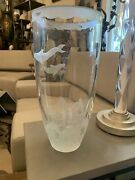 Incredible Desmond Mchugh 1993 Signed Frosted Glass Vase Dolphins 14 3/4andrdquo Tall
