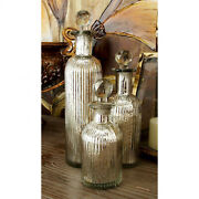 Set Of 3 Vintage Silver Glass Mercury Bottles W/stoppers Decorative Display