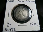 Germany 1891 1/2 Rupie Au East Africa Silver Coin