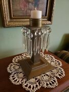 Antique Mission/arts And Crafts Candle Holder/candelabra-with Prisms