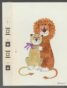 Not In My Wildest Dreams Cartoon Lion And Lioness 5.25x7 Greeting Card Art A9077
