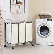 Nex 3-bag Laundry Sorter Cart Laundry Sorter With Removable Bags Rolling Wheels