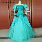 The Little Mermaid Cosplay Outfits Ariel Lace-up Top And Skirt Green Costume