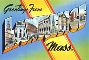 Greetings From Lawrence, Massachusetts - 1930's - Vintage Postcard Poster