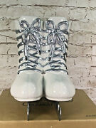 Dept 56 Time To Celebrate Silver Lace Skates Vase Silver/white New Collectable