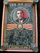 Shepard Fairey - Barack Obama Yes We Did 2008 Poster Signed And Numbered 205/5000