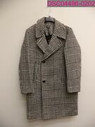 Topman Black And White Check Overcoat With Wool Men's Size 40