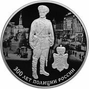 Russia 3 Rubles 2018 300 Years Of Russian Police Ag 31.1 Proof
