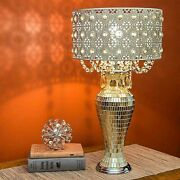 Vintage Glam French Table Lamp Jeweled Crystal Beaded Shade Mirrored Mosaic Base