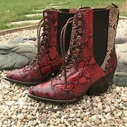 Coach Lace Up Bootie With Patchwork Women's Snake Python Size 6.5 New