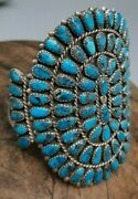 Vintage Sterling Silver And Morenci Turquoise Petite Point Cluster Cuff Bracelet