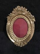 Antique French Gilt Bronze Garland Of Flowers Oval Picture Frame-370