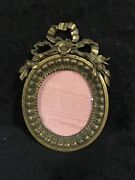 Antique French Heavy Bronze Bow Top Oval Picture Frame-374a