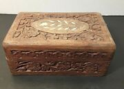 Wooden Carved Inlaid Mother Of Pearl Trinket Box