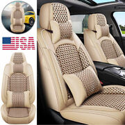 Deluxe Beige Leather Car Seat Cover Protector Cushion Front Rear Full Wrap Set