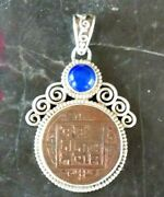 925 Sterling Silver Nepalese Pendant With Blue Stone And Ancient Coin Rare