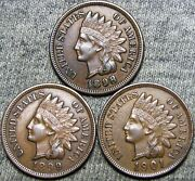 1898 1899 1901 Indian Cent Penny --- Nice Lot --- D437