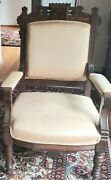 Antique Victorian Parlor Arm Chair Carved Wood Fabric Armchair