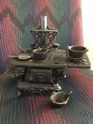 Cast Iron American Wood Stove - Salesman Sample Toy W/ Accessories Vintage