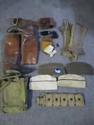 Vintage Wwii Military Uniforms Boots Headgear Beltshaving Kit And Lots Extra