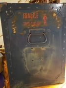 Vintage Metal/wood Military Airline Storage Trunk 21t Andtimes 16w Andtimes 12d As Found