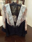 New Spencer Alexis Black Lace Jacket Holiday Gift Silver Label Peach Floral 2x