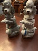 Set Of 2 Vintage 1970 Jim Beamand039s Trophy White And Gray Poodle Decanters Bottles