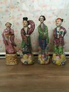 Antique Set Of Four Chinese Porcelain Famille Rose Figurines Beautiful Details