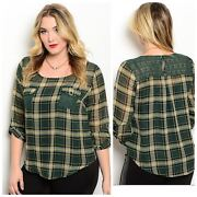 Plus Size Plaid Tartan Pocket Blouse New Red Combo Or Green Combo 1x