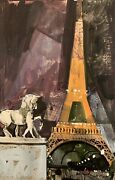 Louis Crane Contemporary Modern Eiffel Tower Mixed Media Painting