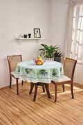White And Aqua Green Printed Floral Tablecloth With Of Palm Leaves. 60 Round