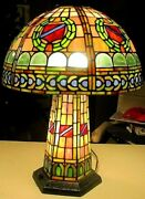 Antique Style Stained Glass Victorian Design 3-light Large Table Lamp
