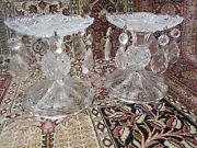 2 Vintage 1980's Crystal Candle Holders W Crystal Dangles And Bobeche'. Vgc