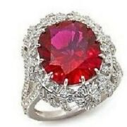 Jean Dousset 9.48ct Absolute Simulated Diamonds Created Ruby Frame Ss Ring Sz 7