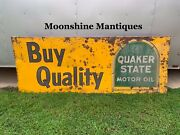 Vintage 1960's Quaker State Motor Oil Sign - Gas And Oil