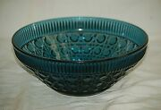 Windsor By Indiana Iridescent Blue Carnival Glass 10 Fruit Bowl Button And Cane