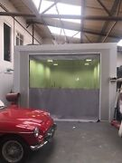 Grey Bottom Clear Top Garage Door Curtain 10ft Wide X 9ft High And Fixing Kit