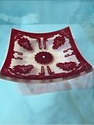 Red And Clear W/grape Design Platter By Salvatore Polizzi Christmas