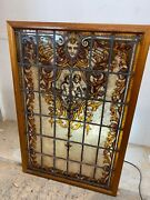 Large Stained Glass Window Panel Hand Painted Period Antique Victorian Recl