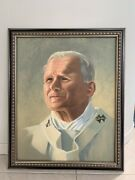 Pope John Paul Ii - Original Oil Painting On Canvas With Wooden Frame