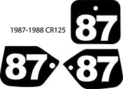 87 88 1987 1988 Honda Cr125 Cr 125 Pre Printed Number Plate Background Decal