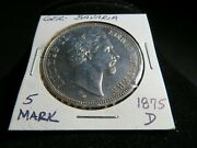 Germany Bavaria 1875-d 5 Mark Silver Coin Low Mintage
